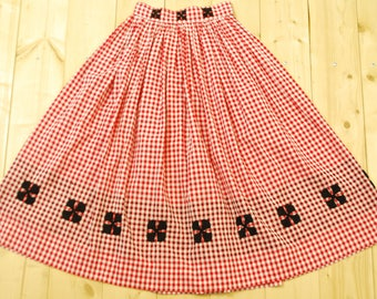 1950's/60's Red Gingham Swing Skirt with Hand Embroidered Crosses / Circle Skirt / Pin Up / Mad Men / Rare Collectable Retro