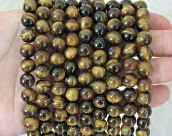 8mm Tiger eye beads, full strand, A quality, brown tiger eye, butter tiger eye, tiger eye beads 8mm, beads for malas, bracelet beads