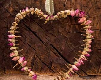 Dried Pink Rosebud Heart