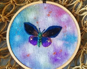 "Twilight Butterfly Embroidery Hoop Art 4"""