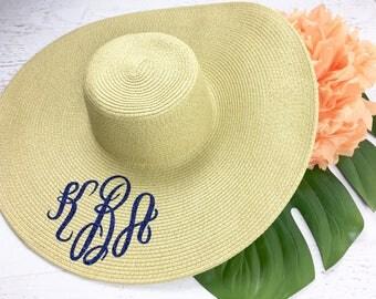 Monogram GLITTER Floppy Sun Hat, Just Married Hat, Bride Hat, Beach Bride, Floppy Beach Hat, Floppy Straw Hat, Sun Hat, BARB