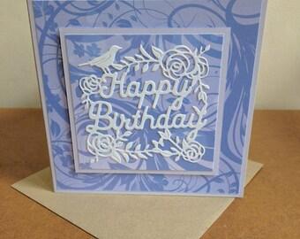 Purple Elegance Happy Birthday Card