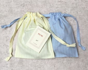 smallbags openwork cotton Voile pastel blue and yellow pastel - zero waste - reusable bags