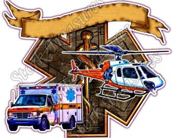 EMS Star Of Life Ambulance Paramedic Medical Car Bumper Vinyl Sticker Decal