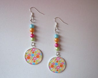 Multicolored cabochons and beads dangling earrings
