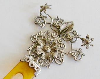 Antique Victorian Sterling Hairpin 3 Dimensional Floral Motif Blonde Horn Teeth Hair Comb