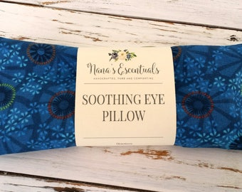 FREE SHIPPING-Aromatherapy -Mental Clarity-Cotton-Removable Cover -Flax Seed-Rosemary/Frankincense/Mint- Essential Oil -Eye Pillow