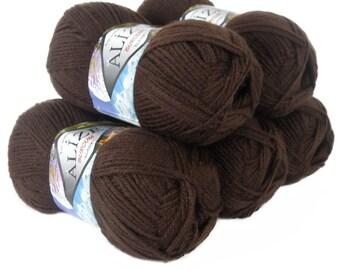 5 x 100 g ALIZE SHERZOD #493 Brown Cardigan