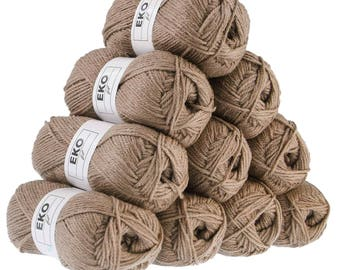 10 x 50 g knitting wool EKO FIL, #027 earthy colours