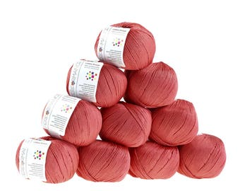 10 x 50 g knitting wool cotton breeze, #17 coral