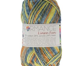 10 x 50 g knitting wool linen fun #9060 yellow blue-Brown