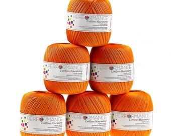 6 x 100g thread cotton Harmony #342 Orange