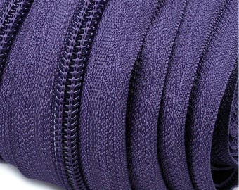 6m endless zipper 5mm with 15 zippers and tails 194 plum