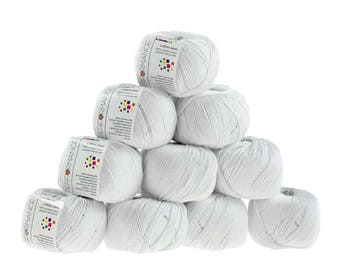 10 x 50g Strickgarn Cotton Gem, #501 weiß