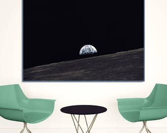 Earthrise, 1969.Photograph of the Earth and parts of the Moon's surface during the Apollo 10 mission.NASA print, NASA Photo, Iconic photo.