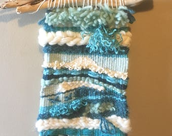 Boho woven wallhanging, weave, turquoise, beachy, driftwood, wall art, wall hanging, wool, loom, handwoven wall hanging