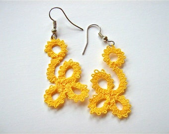 """Bobbin Lace Earrings """"Daisy""""/ Handmade Bobbin Lace Jewelry/ Yellow Earrings"""