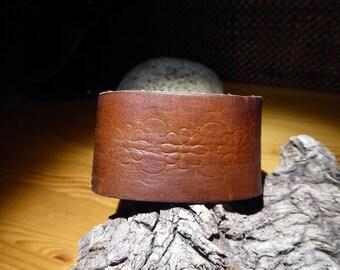 Flower embossed leather bracelet/cuff