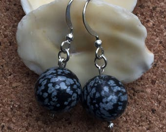 Snowflake Obsidian bead earrings