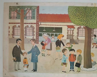 A french vintage school poster