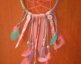 Pink, blue and green dream catcher