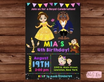 Beauty and the Beast Invitation - Belle Invitation - Beauty and the Beast Birthday Party - Princess Belle Invitation - Princess invitation.