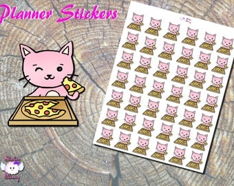 Pizza Party Planner Stickers, Food Stickers, Fast Food Stickers, Pink Cat, Pizza Stickers, Party Stickers, Paper Stickers,