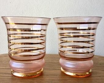 Pair Retro Gold Leaf Lined Tumblers Bar Cart Drinkware Retro Mad Men 1960s Mid-Century Glasses