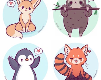 Kawaii Animals Stickers, Owl, Snow Leopard, Shiba, Fox, Husky, Peacock, Corgi, sloth, fennec, penguin, red panda, and more :3