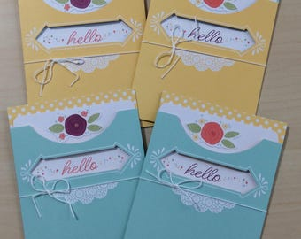 Greeting card handmade, Set of 4 Hello cards