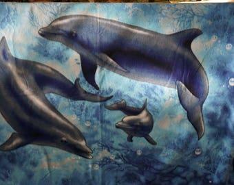 Hand Hemmed Turning Dolphin Polar Fleece Throw/Blanket Hand Hemmed Dolphin Throw