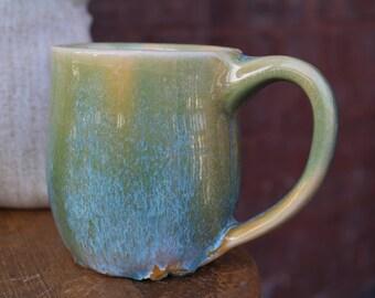 9 oz Turquoise and Yellow Mug