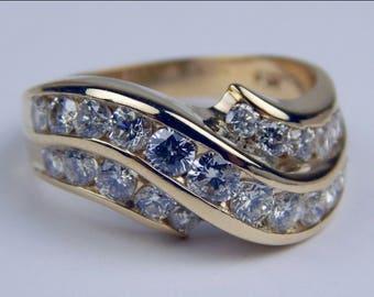 14k gold 1 Ctw white diamond ring #103010