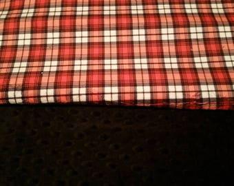 Toddler Minky Red plaid Blanket