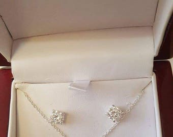 Sterling silver cubic zirconia necklace and earrings set perfect gift