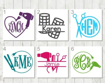 Hair Stylist Decal, Flat Iron Monogram, Gift for Beautician , Salon Mirror Decal, Scissor Monogram Decal, Stylist Decal, Cosmetologist Gift