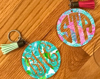 Lilly inspired Keychain, Lilly keychain, monogram keychain, personalized keychain, custom keychain, luggage keychain, backpack keychain,