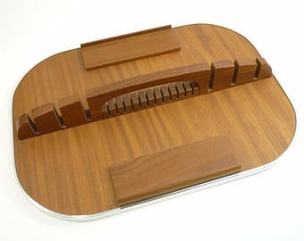 ENGLISH Cutlery - Mid-Century Cutlery Tray - Varnished Teak for 44 Pieces