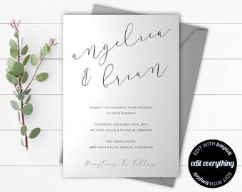 Wedding Invitation Template - Printable Wedding Template - Printable Wedding Invitations - Wedding Invite -Instant Download Wedding Template