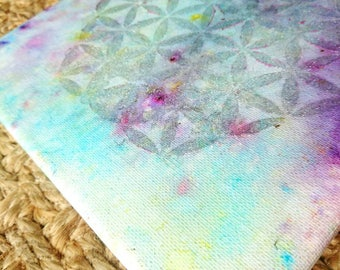 Flower of life on canvas sacred geometry