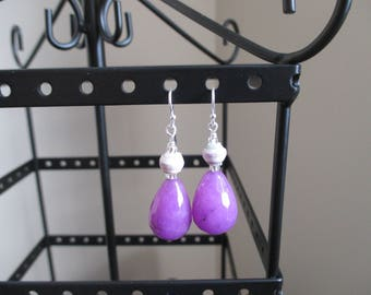 African Purple Paper Bead and Agate Earrings