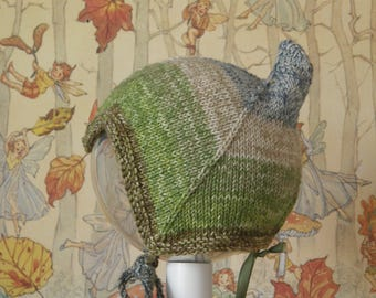 Quirky knitted babyhat pixiehat Misty Meadow