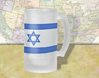 Israel Flag Beer Mug, Beer Stein, Country Flag, Country Pride, Beer Glass, 16 oz., Frosted Mug, Beer Thinkers, Beer Lovers, Cold Beer