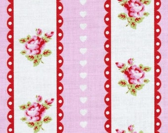 END OF BOLT - 2.5 Yards - Valentine Rose - Valentine Ticking Pink by Tanya Whelan for Free Spirit Fabrics - 100% Cotton - Shabby Chic Fabric