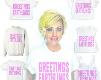 Drippy text, pastel goth, pastel shirt, GREETINGS EARTHLING, Alien tShirt, space shirt, rave T-shirt, Ufo, Geekery, Choice of top!