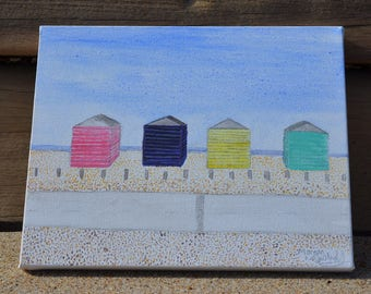 Hayling beach huts, in water colour on canvas