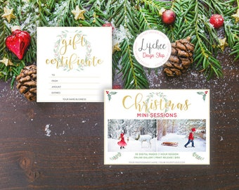 Watercolor Wreath Gold Foil Christmas Mini Session Gift Certificate Marketing Bundle | Christmas Marketing Set PSD Template INSTANT DOWNLOAD
