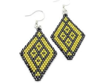 Earrings beads miyuki - diamond