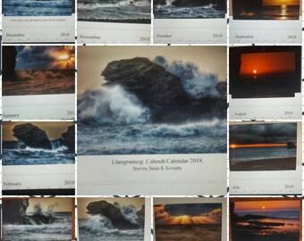 Stormy Seas and sunsets calendar of Llangrannog 2018