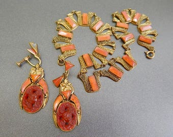 Czech, Neiger, Egyptian Revival, Brass, and Glass, Necklace and Earring Set